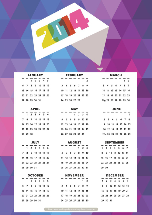Free Download Of 2014 Calendars For Your Desktop Graphic Design